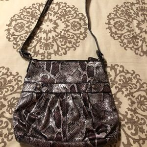 Snake Print Purple Crossbody Bag